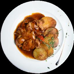 Свински пържоли на тиган с френски картофи
