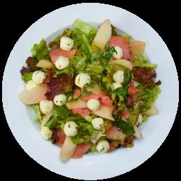 Меланж от салатки със сьомга